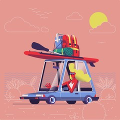 girl driving car with surf equipment on top