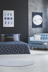 Blue open space interior