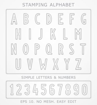 Font with the effect of stamping. Car license plate writing style. Vector design elements