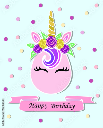 Unicorn As Baby Shop Logo Patch Stick Cake Topper T Shirt Design StickerTemplate For Party Invitation Happy Birthday Greeting Card
