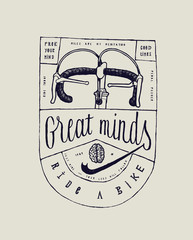 Great minds ride bicycle - vintage typography bicycle print in label style