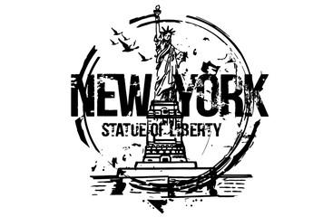 Statue of liberty, New York. USA. City design. Hand drawn illustration.
