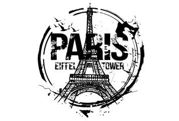 Eiffel Tower. Paris, France city design. Hand drawn illustration.