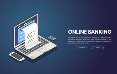 Online banking computer web app. Isometric laptop with paper document printing from screen and phone with credit card. Online payment and invoices banner. Bill and taxes concept.