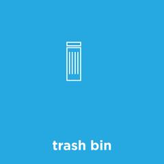 trash bin icon isolated on blue background