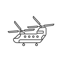 Military helicopter linear icon