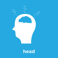 head icon isolated on blue background