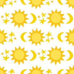 Seamless pattern with sun, moon and stars. Can be used for wallpaper, pattern fills, web page background, surface textures.