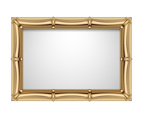 Classic gold rectangular frame isolated on white background