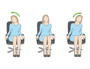 Exercises for the head and neck in the office at the workplace. vector illustration.