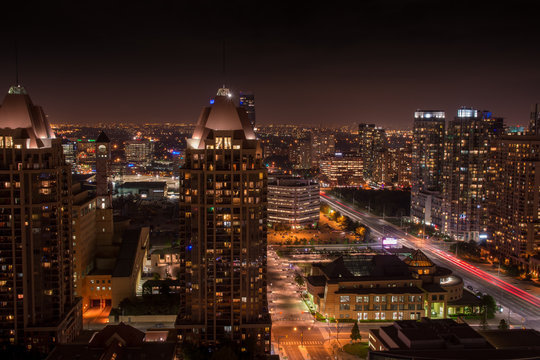 Mississauga Brampton Peel Region city night panorama skyline Toronto Ontario Canada