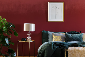 Gold and red sophisticated bedroom