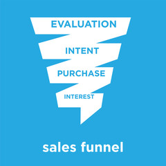 sales funnel icon isolated on blue background