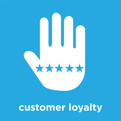 customer loyalty icon isolated on blue background