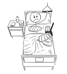 Cartoon stick man drawing conceptual illustration of businessman with broken leg and arm lying on bed in hospital. Concept of career break or healthcare.