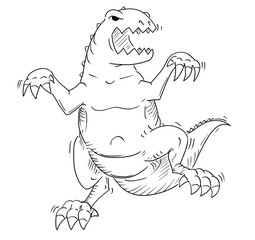 Cartoon drawing conceptual illustration of jurassic tyrannosaur or godzilla like dinosaur monster creature.