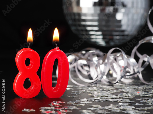 Red Candles Showing Nr 80 Abstract Background For Birthday Or Anniversary Party