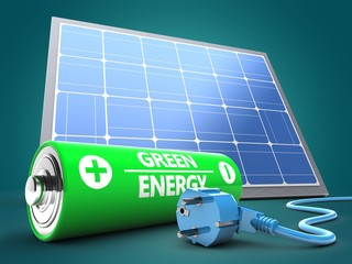 3d battery with solar panel