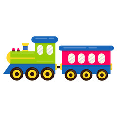 cartoon cute train vector with railway carriage