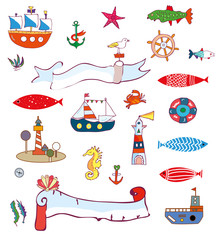 Nautical sea set - doodle objects and elements, vector graphic illustration