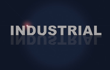 Text Industrial, metallic font effect. Reflection of text and reflection of the lens.