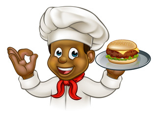 Cartoon Character Chef Holding Burger