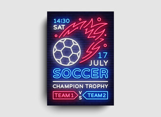 Soccer poster neon vector. Football postcard flyer design template, light banner, bright brochure soccer championship, invitation to European football, typography. Vector illustration