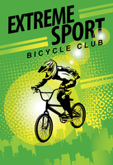 Vector banner or flyer with words Extreme sport and a cyclist on the bike. Abstract poster for bicycle club and promoting extreme mountain biking on green urban background