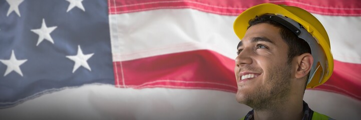 Composite image of close-up of smiling construction worker
