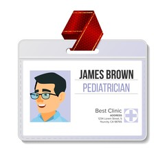 Pediatrician Medical Identification Badge Vector. Man. Name Tag Template. Medicine. Health. Medical Specialist. Isolated Flat Cartoon Character Illustration