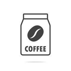 Coffee package line icon vector