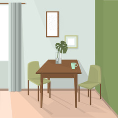 Dining room interior. Dinner table with chairs. Vector illustration.
