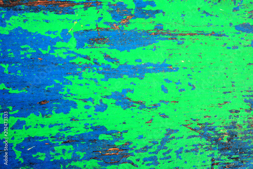 Old Multicolored Blue With Green Light Wooden Wall Grunge Rustic Background