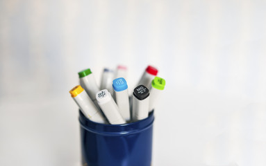 Isolated color sharpie markers (pens) in a blue can with white background
