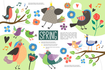 Wall Mural - Flat Hello Spring Infographic Concept