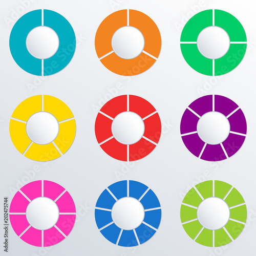 Pie chart set with 2345678910 parts or sections circle pie chart set with 234567 ccuart Image collections