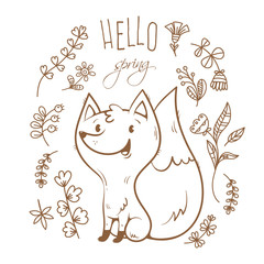 Vector spring card with cute cartoon fox. Flowers and plants of spring time. Vector contour  image no fill.