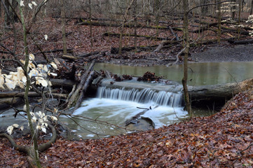Small water fall in early spring