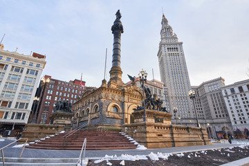 Cleveland, Ohio/USA - March 5th 2018: Soldiers' and Sailors' Monument in Downtown Cleveland was designed by Levi Scofield and is located in Public Square. It is built with granite blocks.