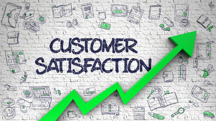 Customer Satisfaction Drawn on White Brick Wall.