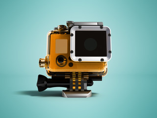 Action camera in durable plastic transparent yellow with a leg for attaching to a helmet for filming under water in front 3d rendering on blue background with shadow