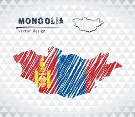 Mongolia vector map with flag inside isolated on a white background. Sketch chalk hand drawn illustration