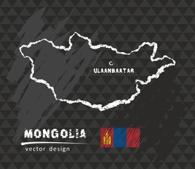 Map of Mongolia, Chalk sketch vector illustration