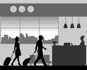 A businessman and businesswoman are coming to the hotel reception desk, one in the series of similar images silhouette