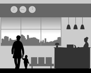 Grandmother with a grandchild walk in the lobby of the hotel, one in the series of similar images silhouette