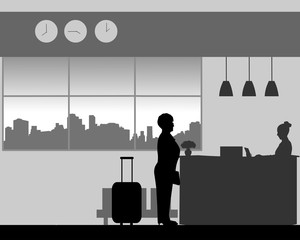 A eldelry woman check in or check out at the hotel reception, one in the series of similar images silhouette