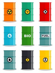 Industry concept. Set of different silhouettes barrel for liquids: water, oil, biofuel, explosive, chemical, radioactive, toxic, hazardous, dangerous, flammable and poisonous substances and liquids