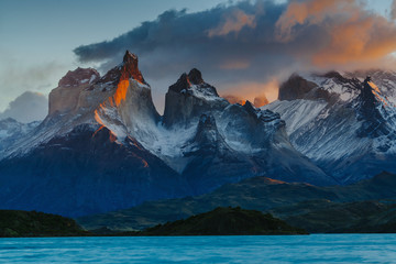 View of Torres Mountains in the Torres del Peine National Park during sunrise. Autumn in Patagonia, the Chilean side