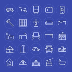 Modern Simple Set of transports, industry, buildings, furniture Vector outline Icons. Contains such Icons as  security,  lock,  faith,  god and more on blue background. Fully Editable. Pixel Perfect.