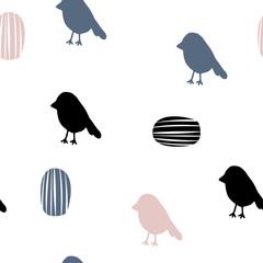 Vector seamless pattern in Scandinavian style. Birds. Nice poster, print..